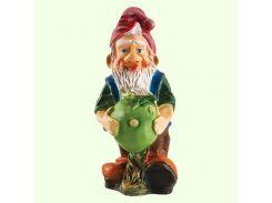 Большая копилка для денег Славянский сувенир Гном с яблоком (М) 9.173 цветная