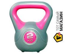 Гиря Liveup Plastic Kettel Bell 2кг, gray/pink (LS2047-2)