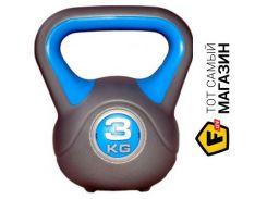 Гиря Liveup Plastic Kettel Bell 3кг, gray/blue (LS2047-3)