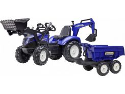 Детский трактор Falk Ranch на педалях с прицепом передним и задним ковшом Синий (3090W)