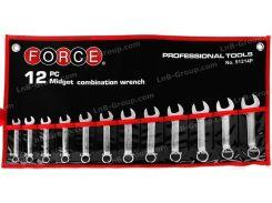 Набор ключей рожково-накидных укороченных на полотне 12 пр. (8-19 мм)Force