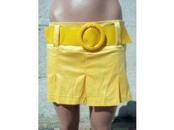 Юбка-шорты женские атласные желтый, 34