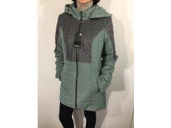 Куртка женская батал оливковая удлиненная  52