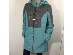 Куртка женская батал бирюза удлиненная  56