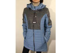 Куртка женская батал голубая удлиненная  52