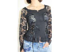 Рубашка женская гипюр черная 8153