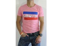 Футболка мужская LEVIS Реплика  розовая