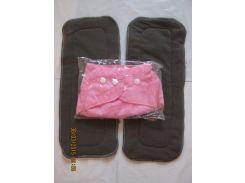 Многоразовый подгузник +2 угольных вкладыша Розовый