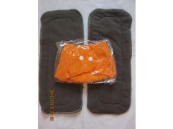 Многоразовый подгузник +2 угольных вкладыша Оранжевый