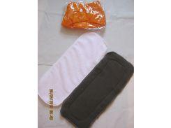 Многоразовый подгузник +2 вкладыша (микрофибра+угольный) Оранжевый