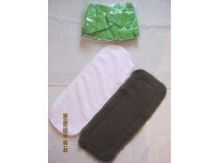 Многоразовый подгузник +2 вкладыша (микрофибра+угольный) Зеленый