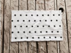 Простынь на резинке в кроватку Белая с черными звездами