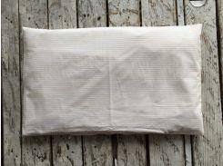 Простынь на резинке в кроватку Мелкая бежевая полоска