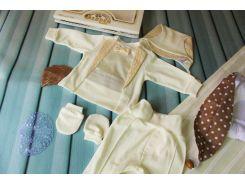 Подарочный комплект на выписку (кофта, ползунки, царапки, шапочка)