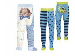 Детские колготки TIP-TOP Conte-kids веселые ножки 128-134, Молочно-черные