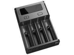 Зарядное устройство от 220V/12V, Nitecore i4 NEW, Ni-Cd/Ni-Mh/Li-Ion/IMR/LiFePO4 (3.6-4.35V), LED, Box
