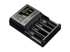 Зарядное устройство от 220V/12V, Nitecore SC4, Ni-Cd/Ni-Mh/Li-Ion/IMR/LiFePO4 (3.6-4.35V)/3A, LED, Box