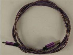 Кабель Micro USB2.0 5P/AM 1m premium, алюминиевые коннектора, оплетка Purple+Gold