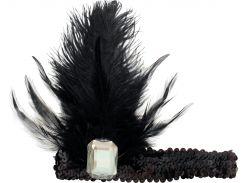 Резинка на голову Seta Decor 11-356BLK-BLK c пером и камнем Черная