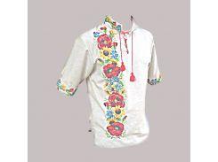 Рубашка Украинская вышиванка 343 цвет светло-жёлтый размер S/M
