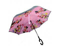 Умный зонт наоборот Up-brella. Зонт обратного сложения - Антизонт Minnie Mouse