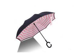 Зонт обратного сложения up-brella розовая полоска (600-32)