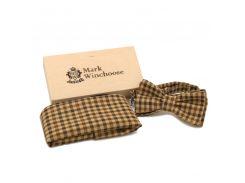 Комплект бабочка платок шерсть коричневый клетка Mark Winchoose set17j08-br33