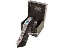Мужской узкий шелковый галстук Eterno EG619 140 см Черно-белый