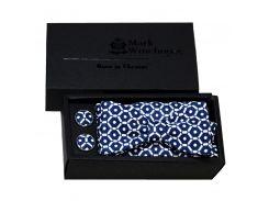 Комплект бабочка платок запонки жаккард Mark Winchoose синий set17a03-b93
