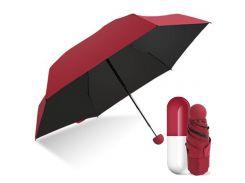 Карманный мини зонт в капсуле FAIRY SEASON Красный/Черный
