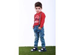 Джинсы для мальчика на подтяжках 225SVETLYY JEANS р. 110 см Светло-синий