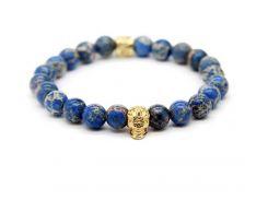 Браслет мужской Kaylo с черепом из синего камня яшмы и золотой фурнитурой