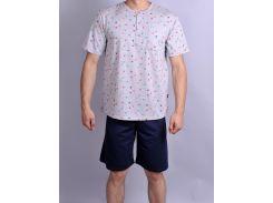 Мужская пижама Natural Club 069 XL Серый с синим