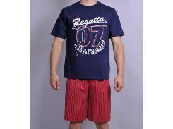 Мужская пижама Natural Club 071 XL Синий с красным