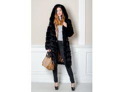 Длинная шуба BG-Furs из натурального меха кролика с поперечным расшивом 40 Черная(Р-КР-16-9_3)