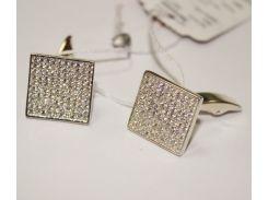 Запонки серебряные Бойко Карло с россыпью фианитов (0277.10)