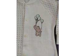Боди HappyTot 9-052 для мальчика со слоником 80см молочное