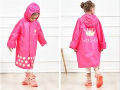 Плащ-дождевик водонепроницаемый Kids Rain Coat розовый 110-120 см (M)