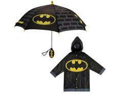"""Дитячий дощовий набір SUNROZ плащ-дощовик з парасолею """"Batman"""" 4-5 р. Чорний"""