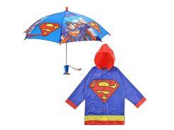 """Дитячий дощовий набір SUNROZ плащ-дощовик з парасолею """"Superman"""" 4-5 р."""