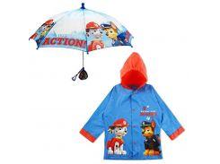 """Дитячий дощовий набір SUNROZ плащ-дощовик з парасолею """"PAW Patrol"""" 4-5 р."""