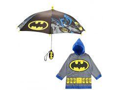 """Дитячий дощовий набір SUNROZ плащ-дощовик з парасолею """"Batman"""" 2-3 р. Сірий"""