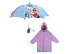 """Дитячий дощовий набір SUNROZ плащ-дощовик з парасолею """"Princess Frozen"""" 6-7 р."""