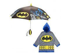 """Дитячий дощовий набір SUNROZ плащ-дощовик з парасолею """"Batman"""" 4-5 р. Сірий"""