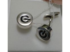 Запонки из серебра круглые с эмалью, 0261.10