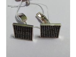 Запонкииз серебра с черными куб. циркониями Имидж, 0277.10