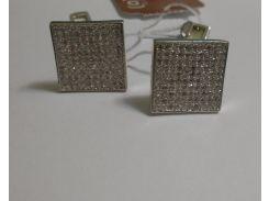 Запонки серебряные Имидж с белыми камнями, 0277.10