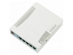 Беспроводной маршрутизатор MikroTik RB951G-2HnD (N300, 600MHz/128Mb, 5х1Гбит, 1хUSB, 1000mW, PoE in,
