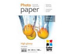 Фотобумага CW глянцевая 180г/м, A4, 20л, картонная упаковка