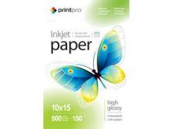Фотобумага PrintPro глянцевая 150g/m2, 10x15, 500л (PGE1505004R)